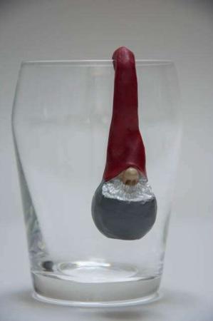 Santa High Hat pothanger. Nisse til at hænge på en krukke. Julenisse fra Nääsgränsgården. Julepynt til glas. Julepynt til krukker.