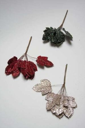 Blade til dekoration - rød, grøn og sølv med glimmer. Blad med glimmer til deko. Dekoblade med glitter.