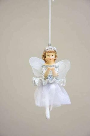 Fe med sølvglimmer og diamant - ophæng. Yndig sølvfe med tylskørt og vinger. Nostalgisk julepynt. Engel med vinger. Englefigur til ophæng.