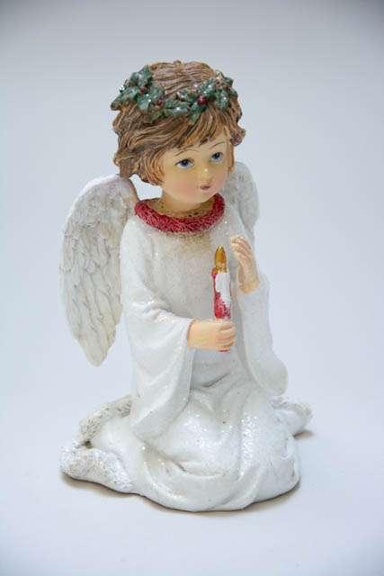 Nostalgisk julepynt. Hvid engel med glimmer. Juleengel figur. Julepynt med engle. Juleengel med julelys. Englefigur med glimmer.