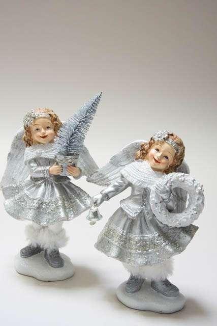 Juleengel med glimmer. Juleengel figur. Julepynt med engle. Julepynt med glimmer. Nostalgisk julepynt. Sølv julepynt med glimmer.