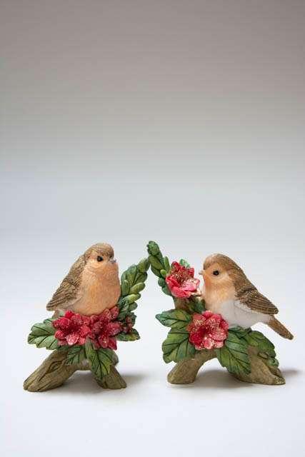 Julepynt 2019 - Fugle på kviste. Julefugl på gren. Julepynt med fugle. Julepynt med glimmer. Nostalgisk julepynt.