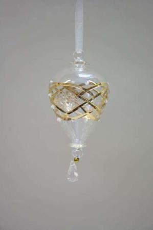 Julekugle i glas med guldmønster. Dråbeformet juletræskugle i glas. Glas julekugle med guld og hvid. Gylden juletræskugle til juletræet.
