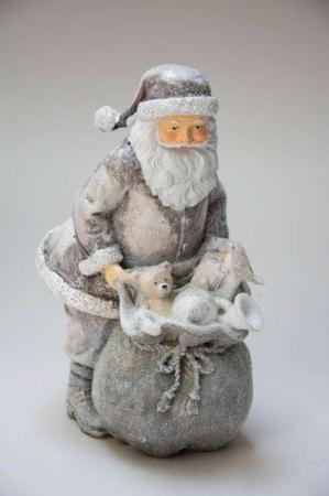 Julemand med gavesæk - sølv. Julepynt i sølv. Julemand i sølv. Sølvfigur af julemand. Julemandsfigur med julegaver i sæk. Julegavesæk og julemand.