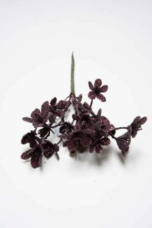 Kunstig rød hortensia til dekorationer. Vinrøde dekoblomster med glimmer. Dekomateriale til adventskrans. Kunstige blomster med vinrød glitter.