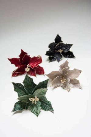 Julestjerne med glimmer. Kunstig julestjerne til dekoration. Juledeko med glimmer. Dekorationsmateriale til juledekoration.