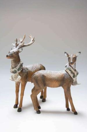 Julepynt 2019 - rådyr med halstørklæder. Figur af rådyr. Nostalgisk julepynt. Gammeldags julepynt. Julepynt med frostlook.