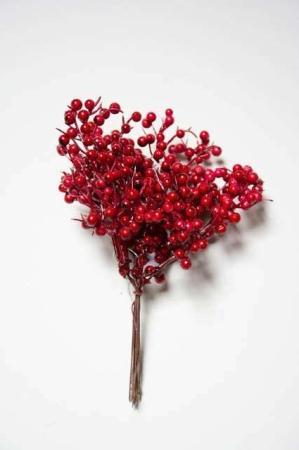 Kunstige bær til dekoration. Små røde dekobær. Dekomateriale til juledekoration og adventskrans. Kunstig bærkvist.
