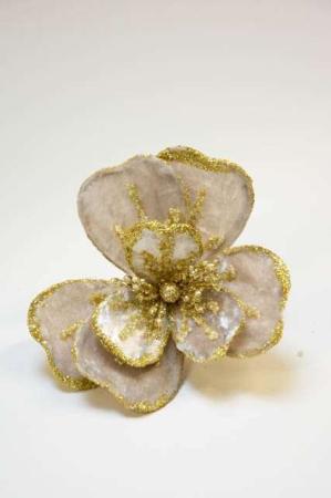Velourblomst på clips. Julepynt i velour. Blomst i velour med clips. Dekoblomst med perler og glimmer. Blomsterclips med stof.