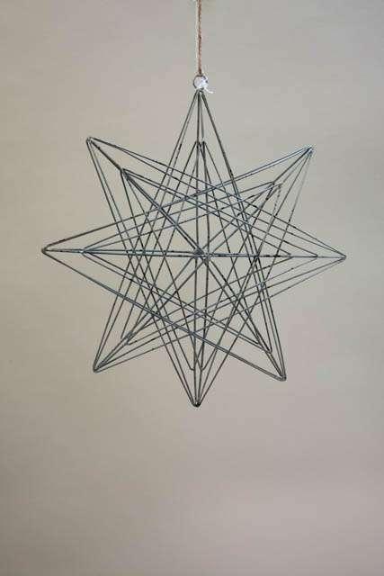 3D julestjerne i metal - ophæng. Metalstjerne til ophæng. Stjerne med snor. Dekostjerne med 3Deffekt.