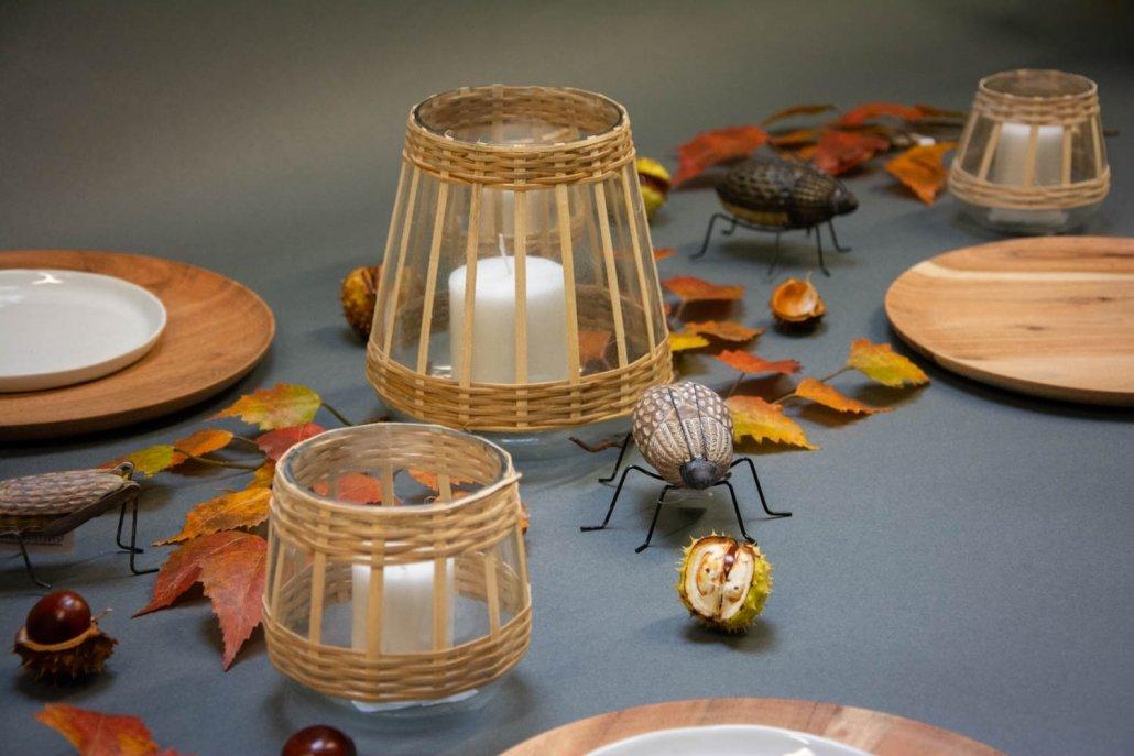 Inspiration til efterårsbord med bambus lygter