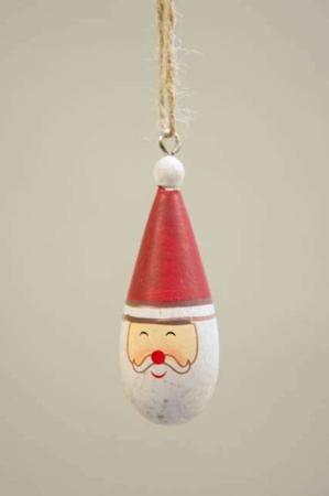 Julemandshoved i træ - ophæng. Julemand til juletræ. Julenissemand med snor. Julepynt med julemand.