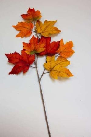 Kunstig ahorngren i efterårsfarver. Kunstig dekomateriale. Kunstigt blad. Kunstig blomst. Plastic blomst. Kunstig plante. Kunstig gren. Efterårsdekoration.