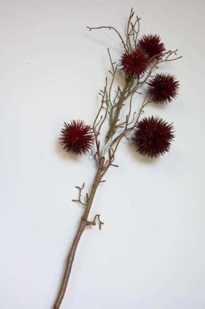 Kunstig bordeauxrød platan. Kunstig dekomateriale. Kunstigt blad. Kunstig blomst. Plastic blomst. Kunstig plante. Kunstig gren.