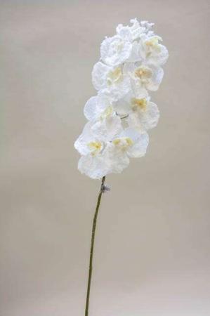 Kunstig hvid orkidé med glimmer. Kunstig gren til dekoration. Juleblomst med sne. Dekogren til juledekoration. Orkidé gren til æresport. Dekoration til bryllup. Hvid blomst med glimmer.