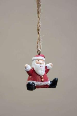 Siddende julemand - ophæng. Lille tyk julemand til juletræ. Julemand med snor. Julemand til ophæng. Hængende julemand,