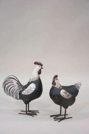 Figur af høne og hane fra Sae il på metalben