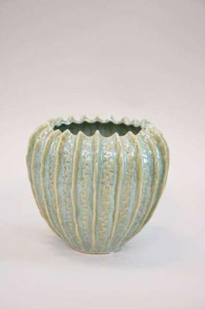 Keramik potteskjuler med grøn glasur - grøn keramikvase fra 2Have