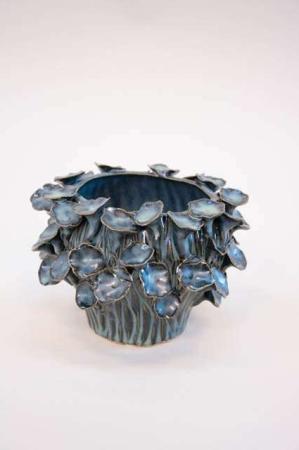 Keramikskjuler med blå glasur - keramikvase fra 2Have