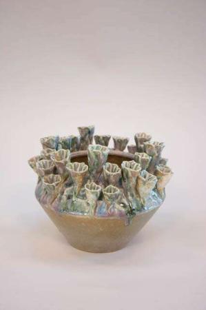 Keramikskjuler med grøn glasur - flerfarvet vase fra 2Have