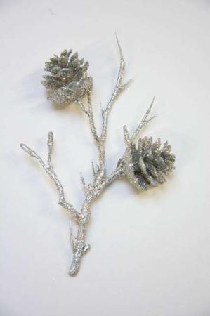 Lærkegren med kogler og glimmer - sølvglimmer lærkekvist fra 2Have