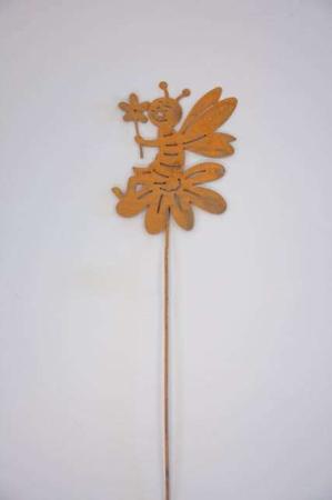 Nål med bi på blomst metal- rustfarvet stick fra 2Have