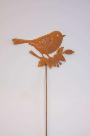 Nål med fugl på kvist metal- rustfarvet stick fra 2Have