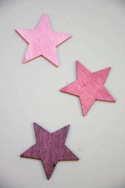 Stjerner af træ - Træstjerner i rosa nuancer