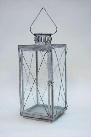 Firkantet lanterne grå. Dekorativ hængende lanterne af jern.