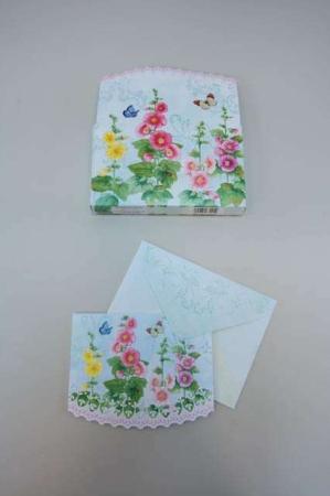 Kort med blomster og sommerfugle med medfølgende kuverter - Fine lejtilghedskort til fødselsdag