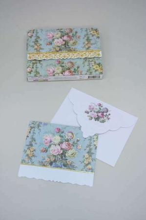 Kort med blomsterbuket med roser - grøn. Kvalitetskort og kuvert med blomster inkl. kortmappe.
