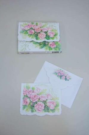 Kort med rosenbusk. Kvalitetskort og kuvert med blomster inkl. kortmappe.