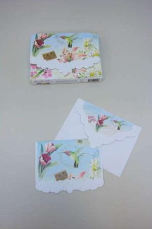 Kort med tulipaner og kolibri. Kvalitetskort og kuvert med blomster inkl. kortmappe.