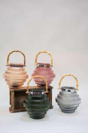 LED lanterne i farvet glas. Glaslanterne med bambus håndtag. Farvet glaslanterne. LED engangspære.