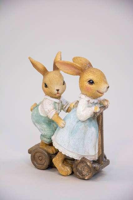 Påskehare. Påskehare på læbehjul. Beatrix Potter kaniner Peter kanin som påskepynt