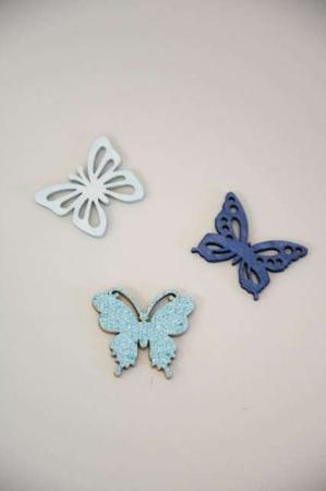 blå sommerfugle af træ - dekorationsmateriale med glimmer