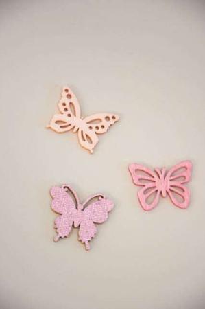 rosa og lyserøde sommerfugle af træ - dekorationsmateriale med glimmer