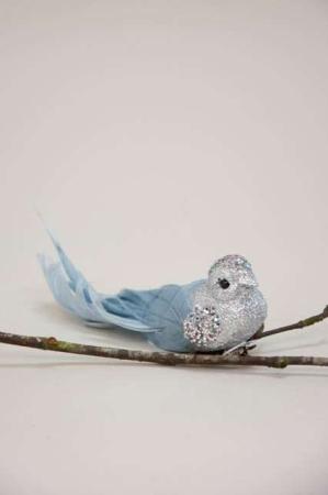 Deko fugl på clips - blå og sølv. Dekorationsfugl med clips - blå og glimmer.
