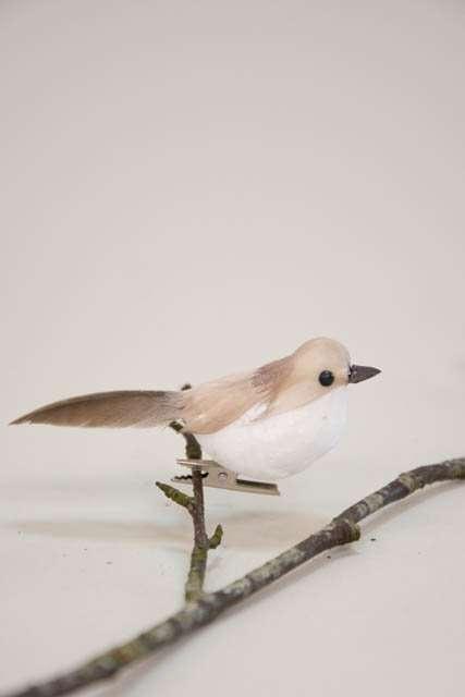 Deko fugl på clips - hvid og brun. Dekorationsfugl med clips - mørkegrøn.