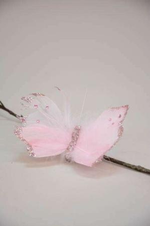 Deko sommerfugl på clips - rosa, pink. Dekorationssommerfugl med clips - lyserød.