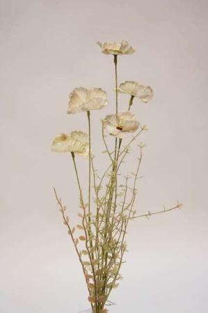 Kunstig blomsterbuket og blomsterstilke i grønne, grå og gule nuancer. Grøn, grå og gul buket med kunstige blomster.