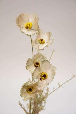 Kunstig blomsterbuket og blomsterstilke i grønne, gule og grå nuancer. Grøn, grå og gul buket med kunstige blomster.