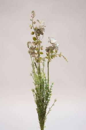 Kunstig blomsterbuket og blomsterstilke i grønne og hvide farver. Hvid og grøn buket med kunstige blomster.