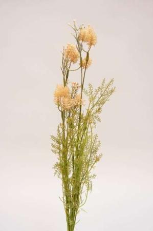 Kunstig blomsterbuket og blomsterstilke i nude og grønne nuancer. Beige og grøn buket med kunstige blomster.