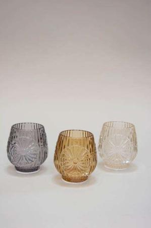 Mønstrede fyrfadsstager af glas. Glas fyrfadsstager med mønster.