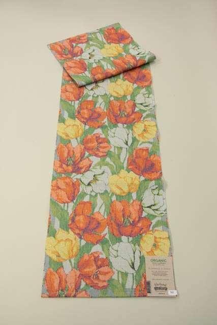 Bordløber af økologisk bomuld fra Ekelund - Blommande tulipaner.