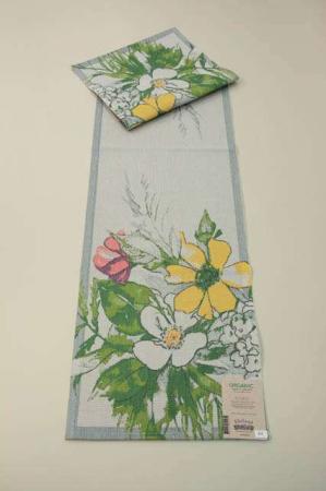 Bordløber af økologisk bomuld fra Ekelund - SIGRID- Blomster.