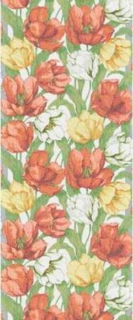Bordløber af økologisk stof fra Ekelund - Blommande tulipaner.