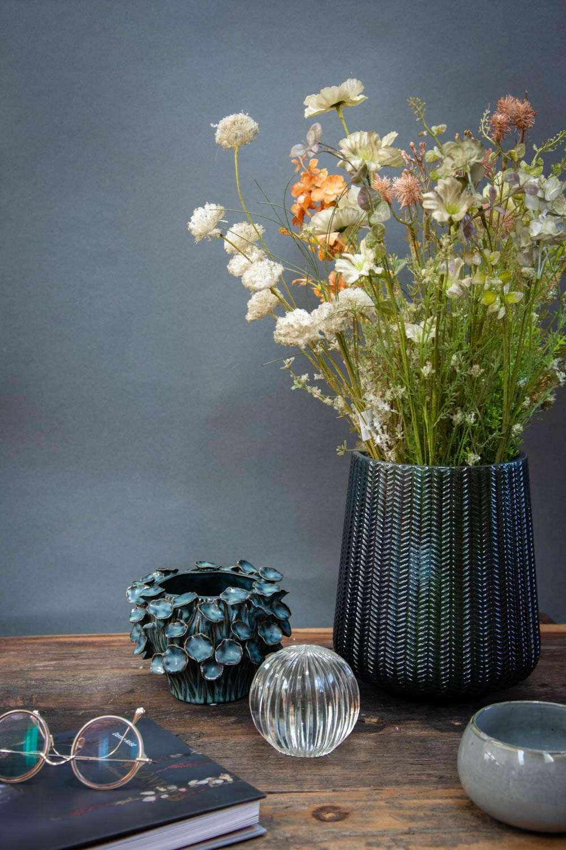 Farvet glas - blå glasvase og keramik