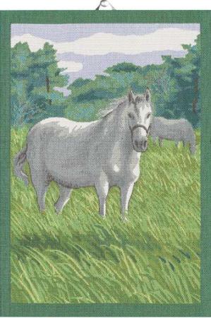 Lækkert bomuldshåndklæde med hest på eng. Håndklæde af 100% økologisk bomuld fra Ekelund.
